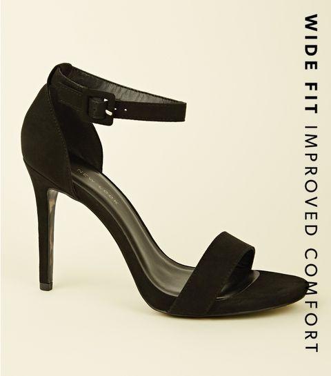 a482ac34c54 ... Wide Fit Black 2 Part Stiletto Heels ...