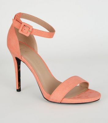 Wide Fit Coral 2 Part Stiletto Heels