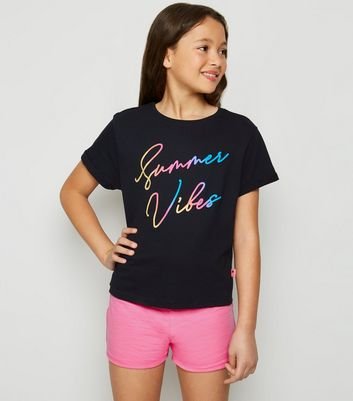 Girls Black Ombre Summer Vibes Slogan Pyjama Set