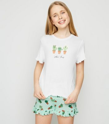 Girls White Cactus Slogan Pyjama Set
