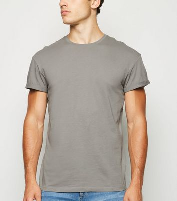 Pale Grey Short Roll Sleeve T-Shirt