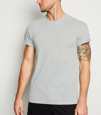 Grey Marl Short Roll Sleeve T-Shirt