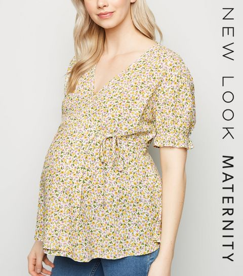 405fd7011bf2 ... Maternity White Ditsy Floral Wrap Top ...