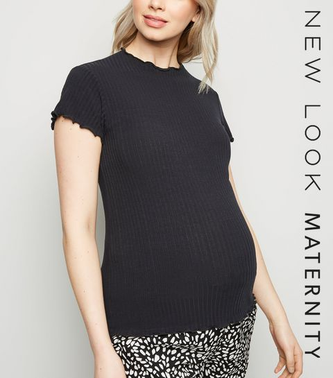 206285e6d2376 ... Maternity Black Ribbed Frill Trim T-Shirt ...