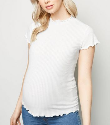 Maternity Cream Ribbed Frill Trim T-Shirt