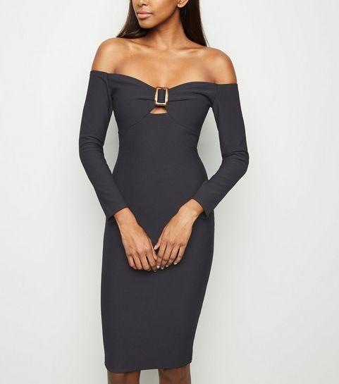 fec0cf1e6693 ... Black Bardot Buckle Long Sleeve Bodycon Dress ...