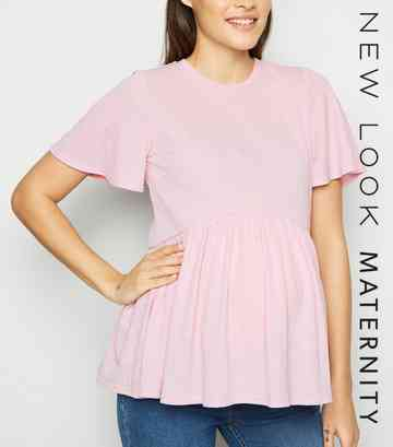 Maternity Pale Pink Crosshatch Peplum Top