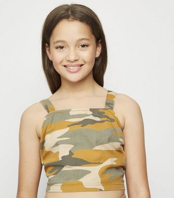 Girls Mustard Camo Square Neck Top