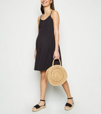 Maternity Black Ribbed Button Up Skater Dress