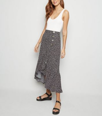 Black Spot Button Ruffle Wrap Midi Skirt