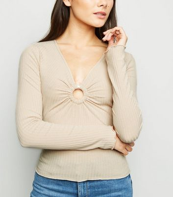 Camel Ribbed Ring Detail Top