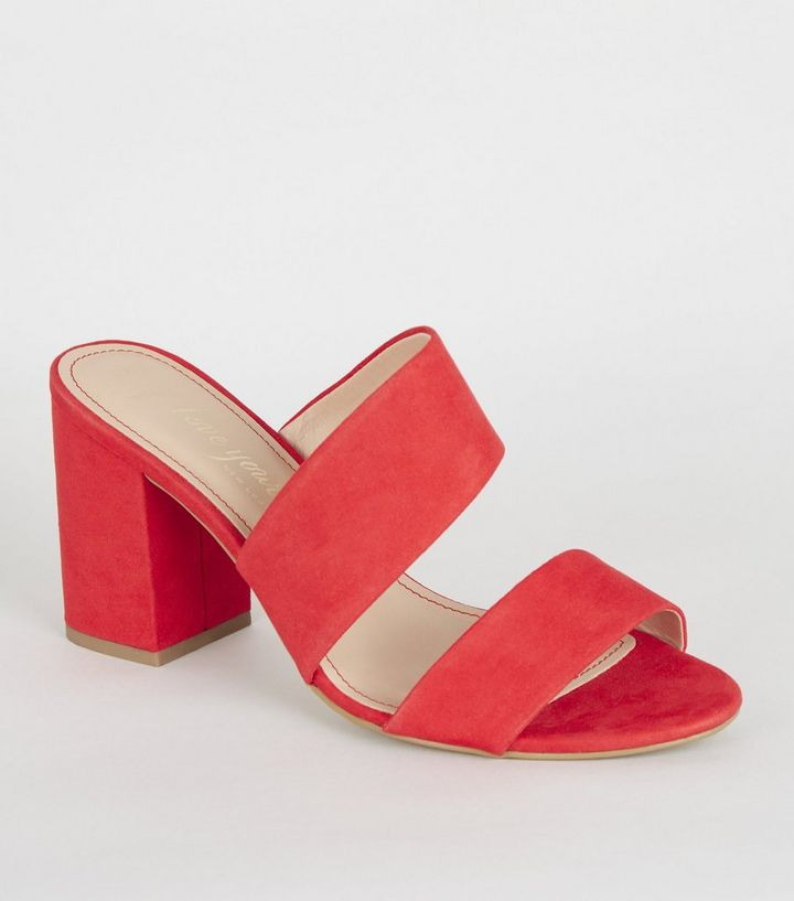 100% high quality differently uk availability Wide Fit Red Strappy Block Heel Mules | New Look