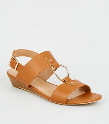 Tan Leather-Look Ring Strap Wedge Sandals