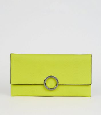 Green Neon Faux Snake Ring Clutch