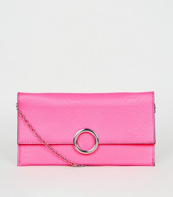 Pink Neon Faux Snake Ring Clutch