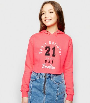 Girls Bright Pink Neon Sport Slogan Hoodie