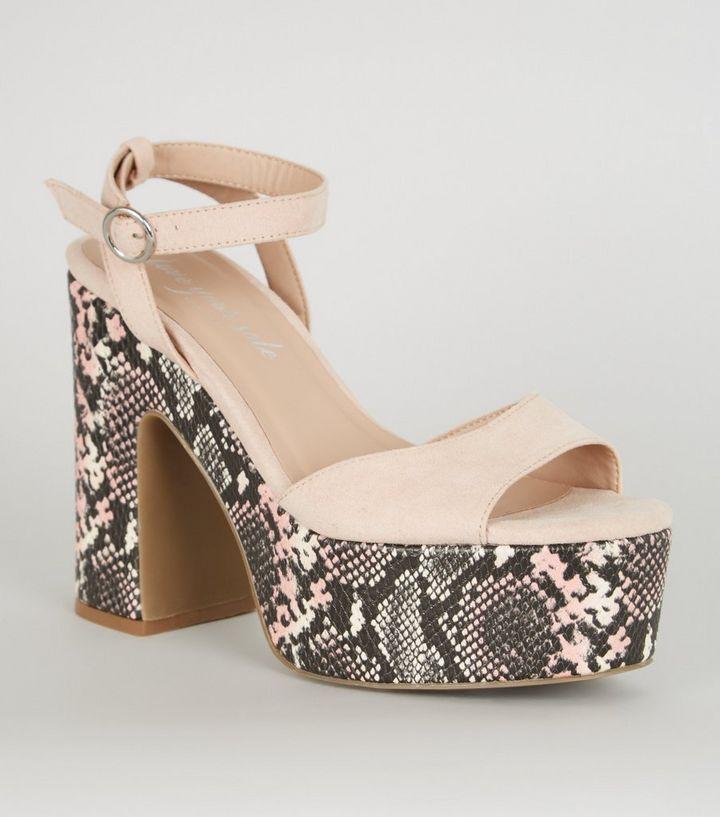 735da3baa9652 Nude Faux Snake Chunky Heeled Sandals | New Look