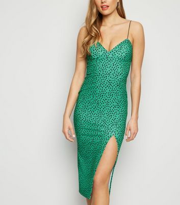 Green Spot Print Bustier Midi Dress