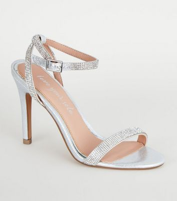 Silver Diamanté Barely There Stiletto Heels