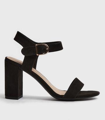 Black Suedette Ankle Strap Block Sandals