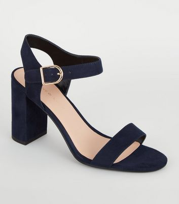 Navy Suedette Ankle Strap Block Sandals