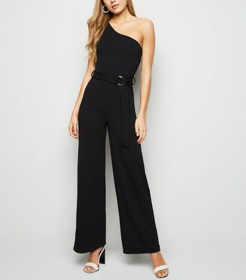 Black One Shoulder Belted Jumpsuit