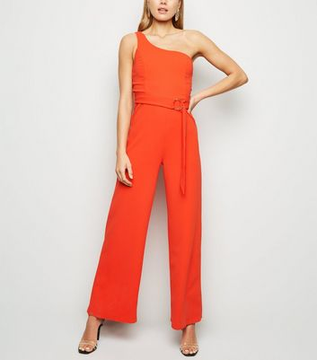 Red One Shoulder Belted Jumpsuit
