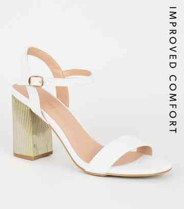 75c3a2fe4b3e34 Chaussures blanches en similicuir à talons blocs métallisés ...