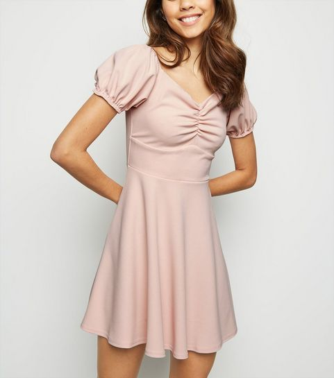 d462a86fd2 ... Pale Pink Ruched Milkmaid Dress ...