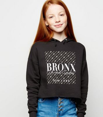 Girls Black NYC Bronx Box Slogan Hoodie