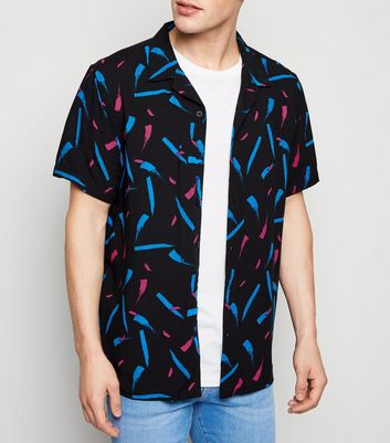 Black Brushstroke Print Short Sleeve Shirt