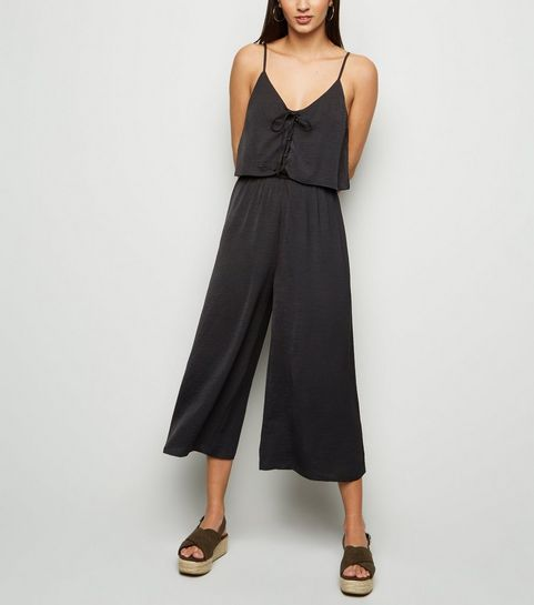 ca6e442c6aa ... Black Lace Up Layered Culotte Jumpsuit ...