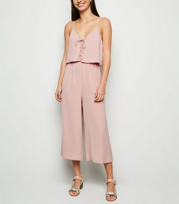 Pink Lace Up Layered Culotte Jumpsuit