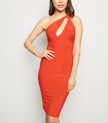 Coral Cut Out One Shoulder Midi Dress