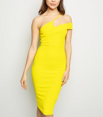 Yellow Neon Asymmetric Strap Bodycon Dress