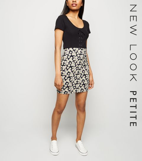 80adf0b95b ... Petite Black Daisy Tube Skirt ...