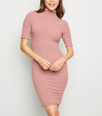 Pink Ribbed Turtleneck Mini Dress
