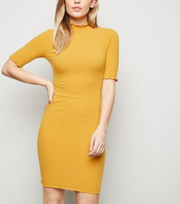 Mustard Ribbed Turtleneck Mini Dress