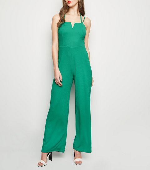... Green Notch Neck Cross Strap Jumpsuit ... 3da35bdb9