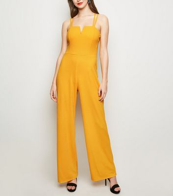 Mustard Notch Neck Cross Strap Jumpsuit