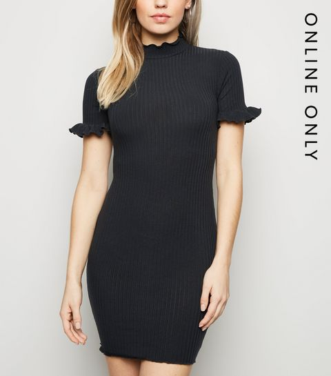 4b3304fec272 ... Black Ribbed High Neck Frill Mini Dress ...
