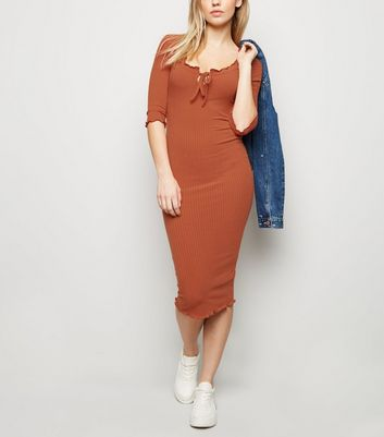 Rust Frill Trim Ribbed Bodycon Dress