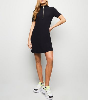 Black Turtleneck Zip Jersey Swing Dress