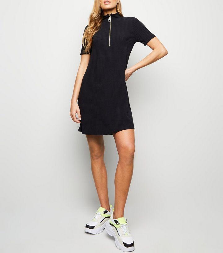 95f712c17a7c9e Black Turtleneck Zip Jersey Swing Dress | New Look