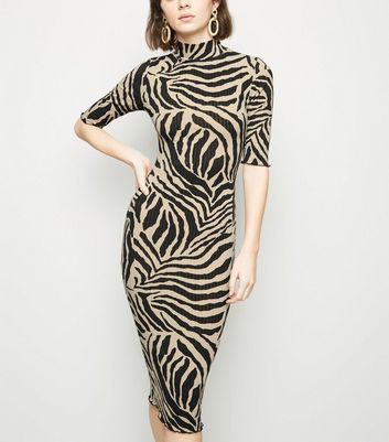 Stone Zebra Print Turtleneck Midi Dress