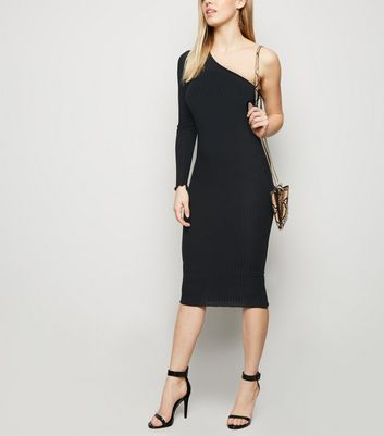 Black Ribbed One Shoulder Midi Dress