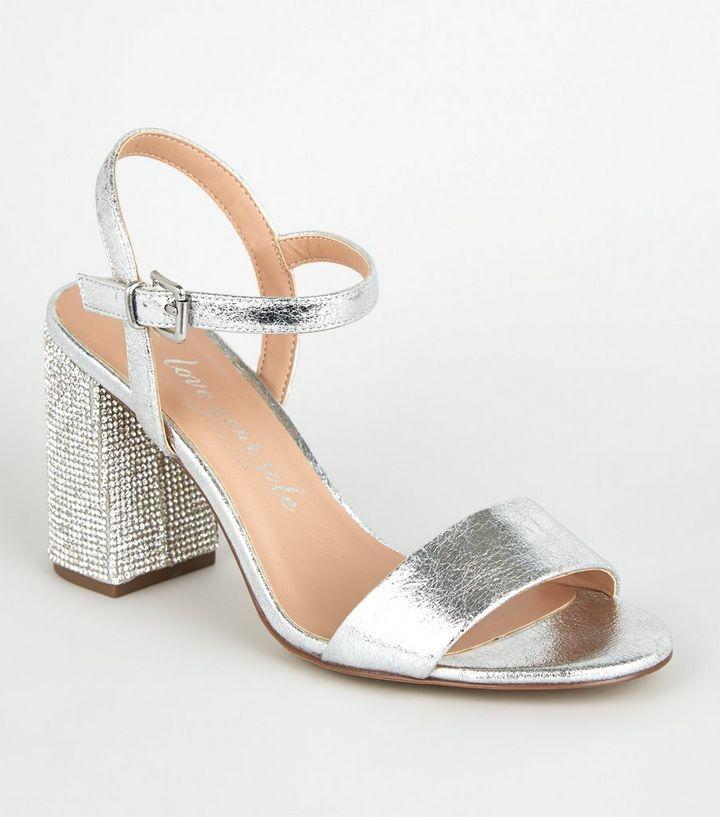 1f37fb5e0d361 Wide Fit Silver Diamanté 2 Part Heels | New Look