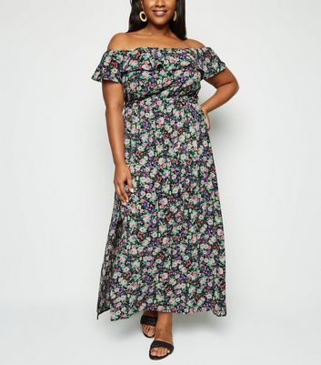 Curves Black Floral Belted Maxi Dress