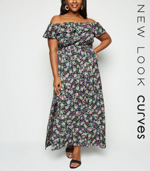 166d50284e5 ... Curves - Robe longue noire à imprimé floral et ceinture ...