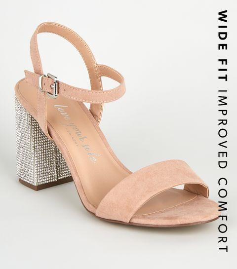 6e20952f50 ... Wide Fit Nude Suedette Gem Embellished Heels ...